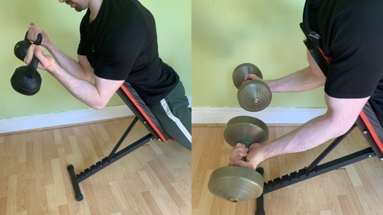 A man demonstrating the differences between kettlebell curls and dumbbell curls