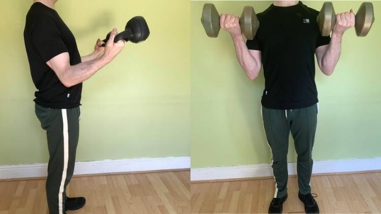 A kettlebell curls vs dumbbell curls comparison