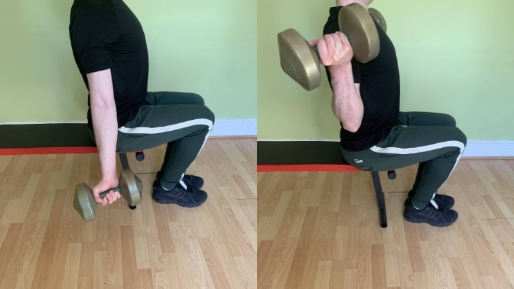 A man demonstrating the lateral bicep curl
