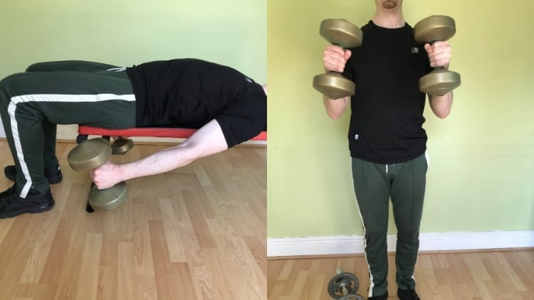 A man performing a lying hammer curl superset