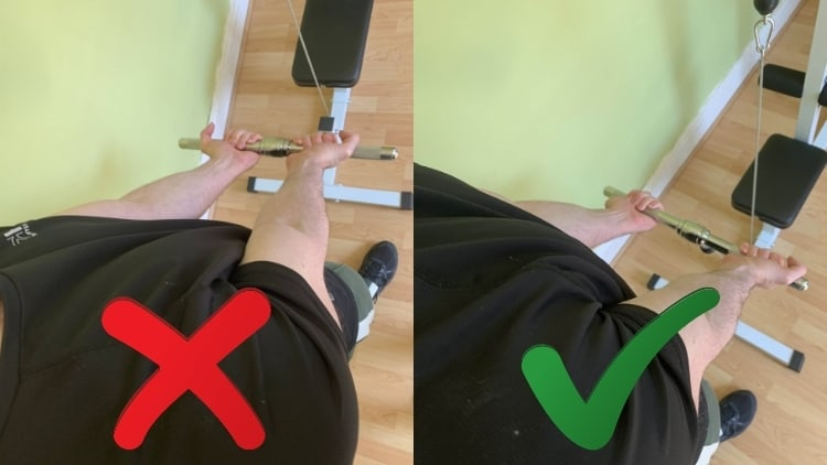 Man showing the proper close grip cable curl hand position