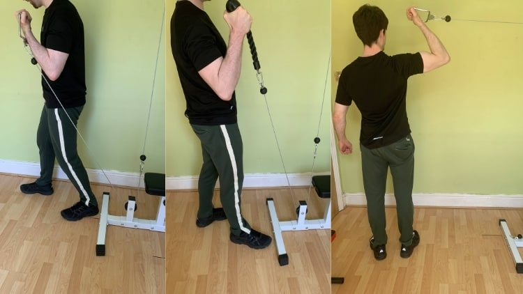 A man demonstrating various one arm cable curl variations