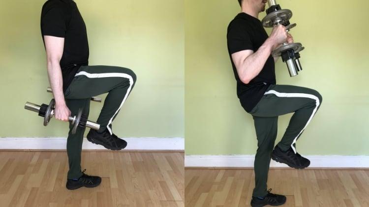 A man doing a one leg hammer curl