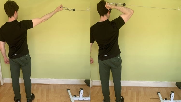 Man performing an overhead cable curl for his biceps