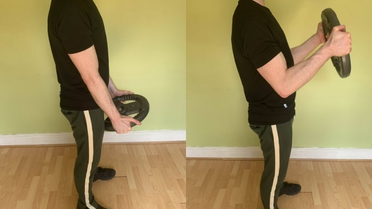 A man doing a plate hammer curl