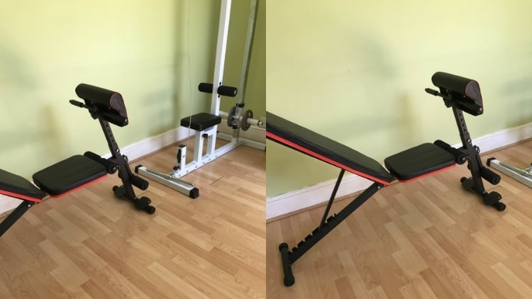 The setup for preacher curls on the cable machine: a weight bench and a low pulley