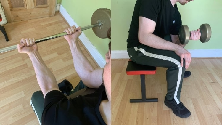 A man showing the differences between preacher curls and concentration curls