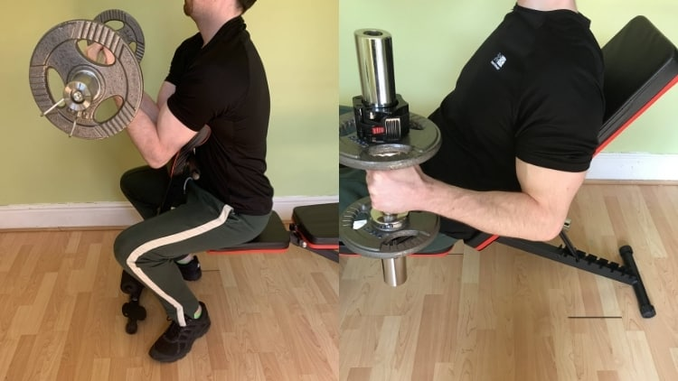 A man demonstrating the differences between a preacher curl and an incline curl