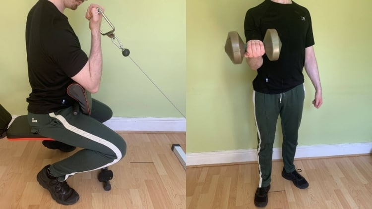 A man demonstrating the difference between preacher curls and regular curls