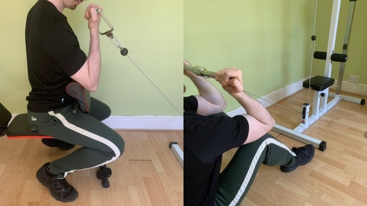 A man demonstrating the difference between preacher curls and concentration curls