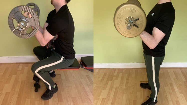 A man showing the difference between preacher curls and regular curls