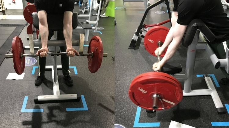 A side by side comparison of preacher curls and spider curls