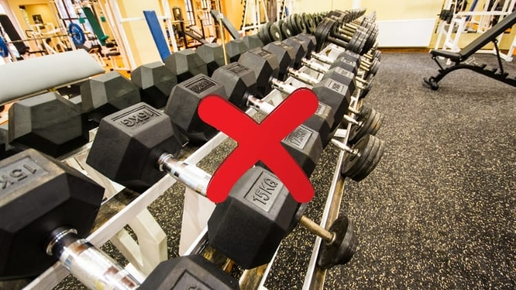 A rack of dumbbells in a gym