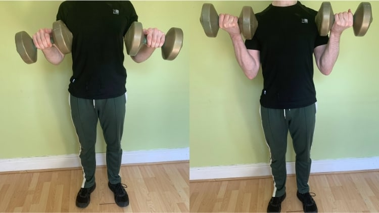 A man showing the difference between pronated and supinated bicep curls