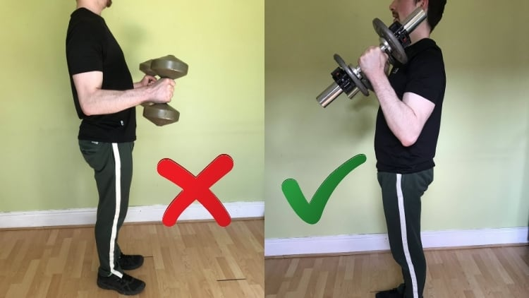 A man demonstrating the proper hammer curl form