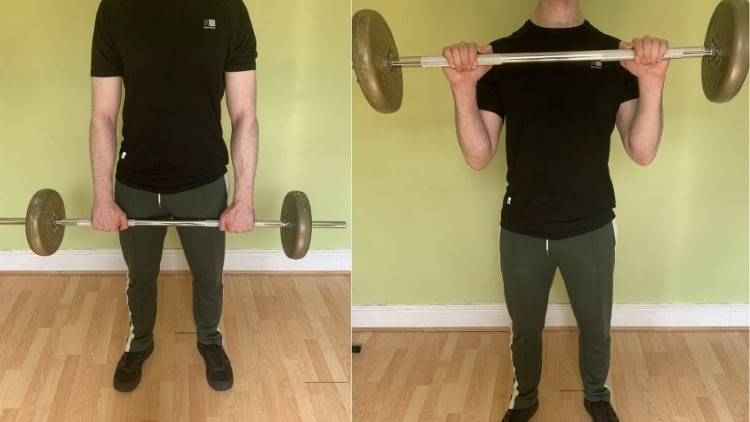Man demonstrating how to do a reverse barbell curl correctly
