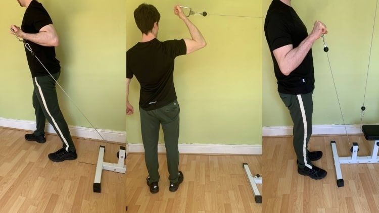A man performing reverse grip cable curls and similar exercises