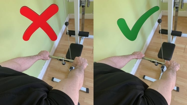 The correct and incorrect hand positions for reverse grip cable curls