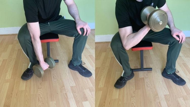 A man doing a reverse grip concentration curl