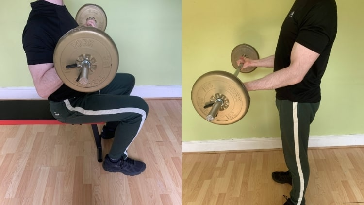 A man demonstrating the difference between seated bicep curls and standing curls
