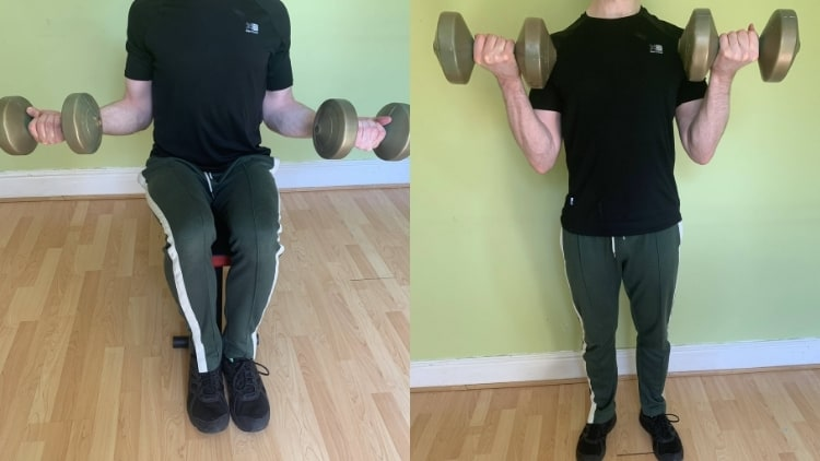 A seated bicep curl vs standing comparison