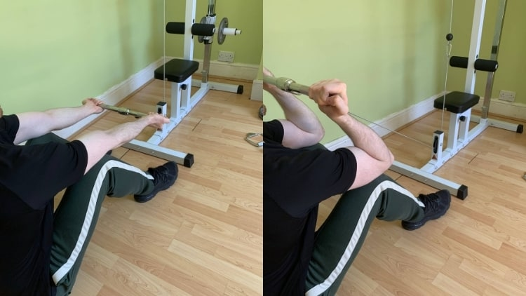 Man doing the seated cable bicep curl