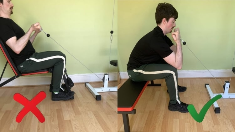 A man demonstrating some variations of seated cable curls