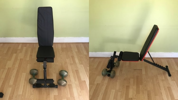 Dumbbells and a bench; the equipment required for a seated dumbbell curl