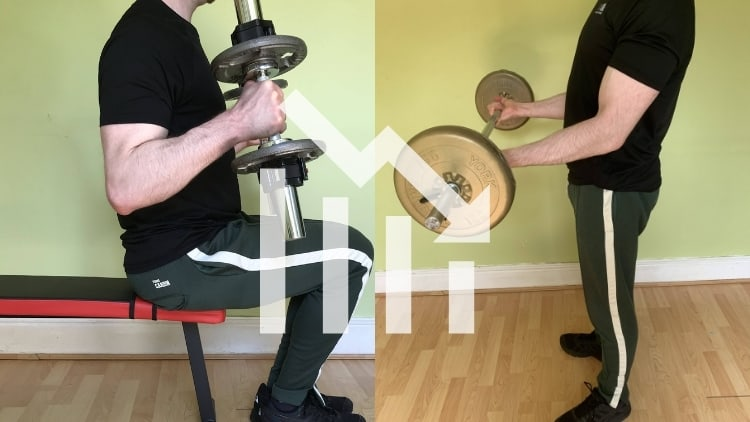 A man doing a seated dumbbell hammer curl