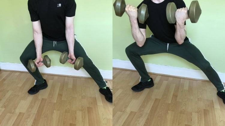 Man performing a side lunge with bicep curl