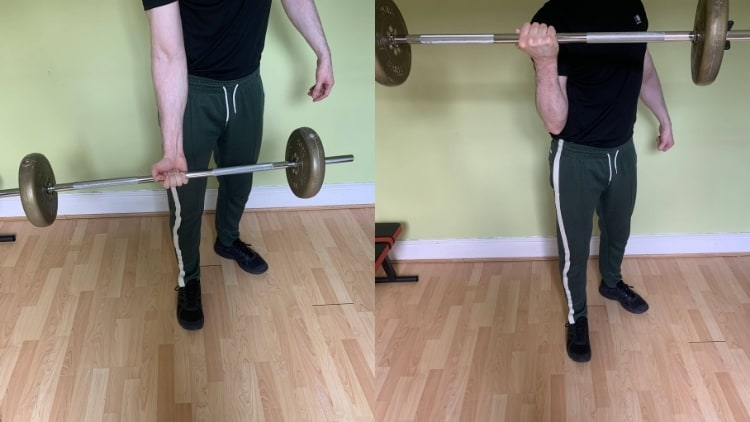 A man performing a single arm barbell curl