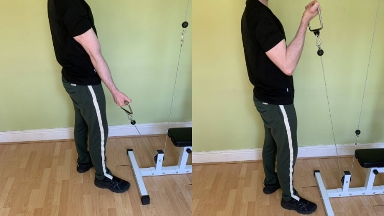 A man performing a single arm cable curl for his biceps