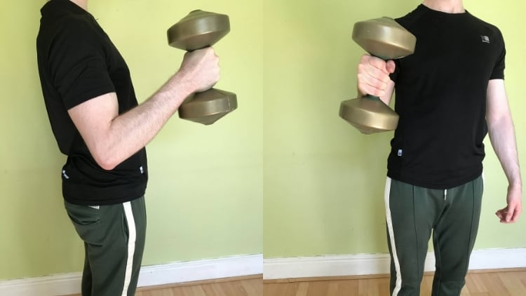 A man performing a single arm hammer curl with a dumbbell