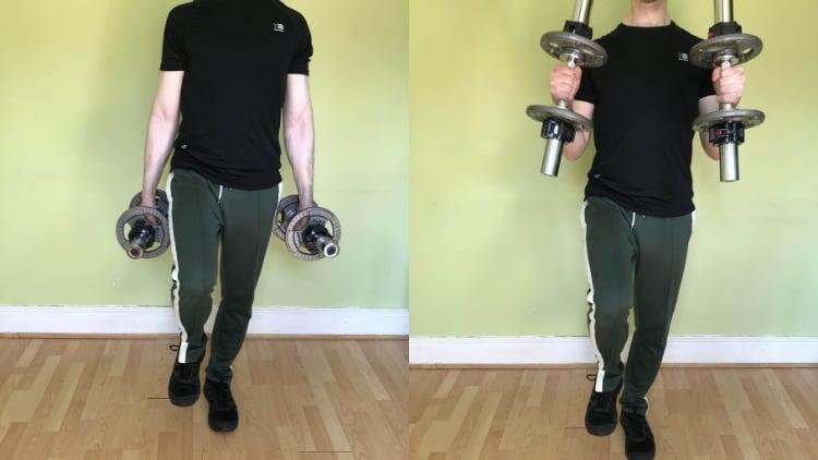 A man performing a single leg hammer curl