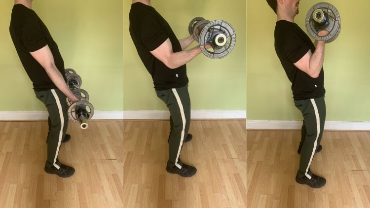A man doing sissy curls with dumbbells