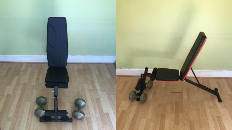 The setup for dumbbell sitting hammer curls
