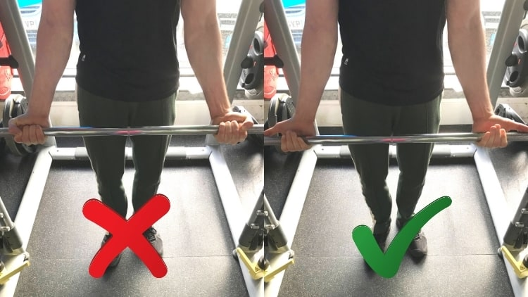 A man showing the correct and incorrect grips for the Smith machine drag curl