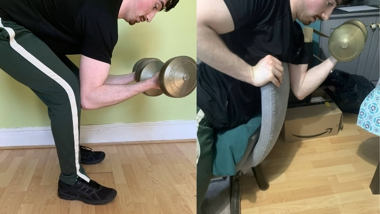 A man demonstrating a spider curl alternative that people can do to work their biceps