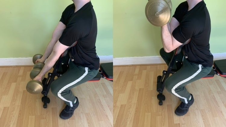 A man doing some spider curl alternatives