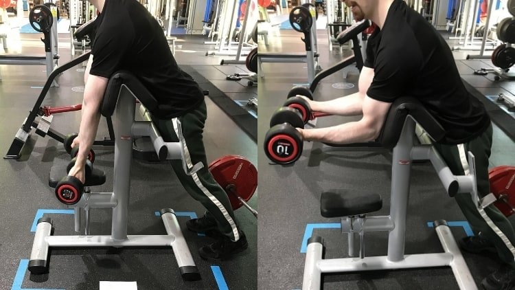 A man performing the spider curls exercise with dumbbells