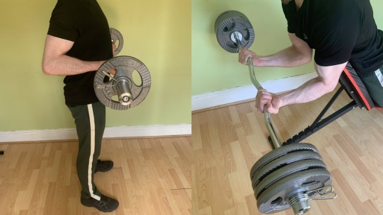 A man demonstrating the differences between spider curls and drag curls