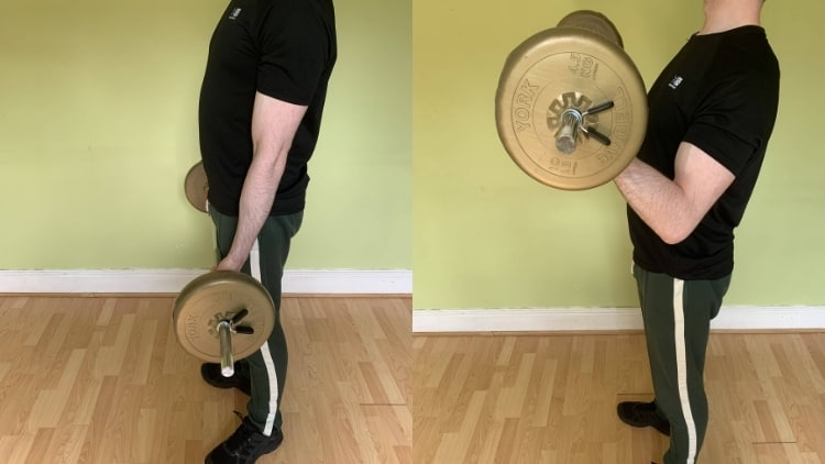 A man demonstrating the proper standing barbell curl form for working the biceps