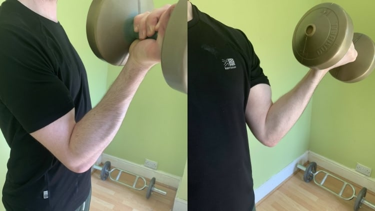 A man performing twisting supination curls for his biceps