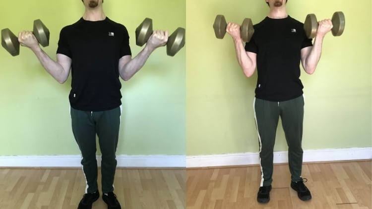 A side by side comparison of supination curls and regular curls