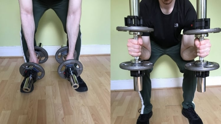 Man performing a two arm concentration hammer curl