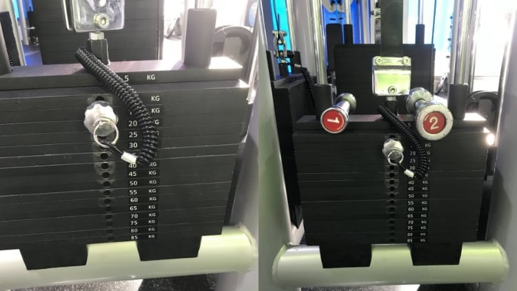 A weight stack at the gym