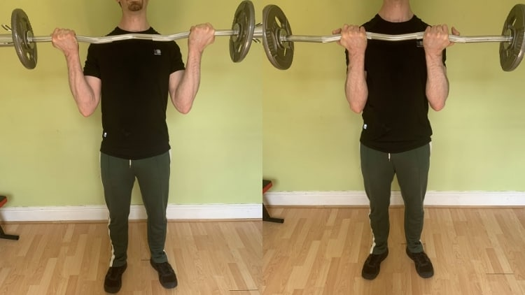 An image showing the difference between wide grip and close grip EZ bar curls