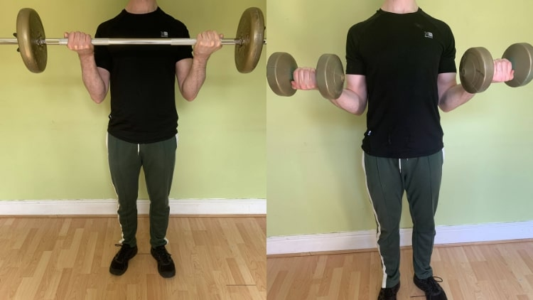 A man performing a beginner bicep workout.