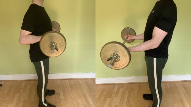 A man demonstrating the best bicep workout for mass gain