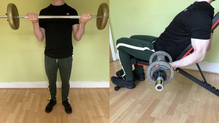 A man doing a bicep workout
